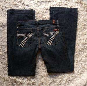7FAM Dojo Dark Wash Flare Jeans Size 28